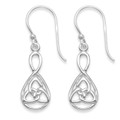 Sterling Silver Celtic Trinity Teardrop Earrings - SIZE: 17mm x 9mm. Weight: 2gms 6408