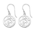 Sterling Silver round drop Earrings with leaves - SIZE: 15mm x 15mm plus earring wires - Weight: 2gms. 6302 (Matches 4902 pendant) 6302