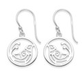 Sterling Silver Bird drop Earrings - SIZE:  15mm x 15mm plus earring wires - Weight: 2gms. 6301 (Matches 4901 pendant) 6301