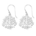 Sterling Silver Tree of Life drop Earrings - SIZE: 19mm x 19mm plus earring wires - weight: 2.8gms. 6494