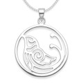 Sterling Silver Bird in circle Pendant - SIZE: 23mm x 23mm plus pendant top - weight: 2gms. Excluding Chain. 4901