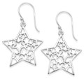 Sterling Silver Star Earrings with stars inside - SIZE: 25mm (plus earring wires).  6152