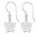 Sterling Silver Children's filigree Butterfly Earrings - SIZE:  Small - 9mm x 9mm (plus earring wires) 6021