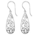 Sterling Silver filigree drop Earrings - SIZE: 26mm x 10mm. 6153