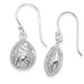 Sterling Silver filigree ball drop Earrings - SIZE: 12mm x 10mm x 6mm thick - height 26mm including earring wires. 6157