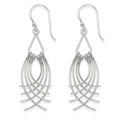 Sterling Silver Swirly silver wires dangly Earrings  - Size: 14mm x 40mm (54mm with earring wires)- 3.7gms.  6474