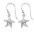 Sterling Silver Cubic Zirconia Starfish drop earrings - Size: 11mm x 11mm (25mm including earring wires)  7244CZ