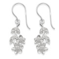 Sterling Silver Cubic Zirconia Flowers drop earrings - SIZE: 10mm x 20mm (34mm including earring wires). 7248CZ