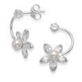 Sterling Silver Cubic Zirconia & Pearl flower earrings on cubic zirconia studs - SIZE:19x11mm. 7249CZ