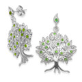Sterling silver Tree of Life Earrings with Clear & Peridot CZ. Size: 25 x 20mm.  7297PDZ  LAST ONES