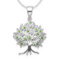Sterling silver Tree of Life Pendant with Clear & Peridot Cubic Zirconia - Size: 21 x 22mm (28mm inc. pendant top). Excluding chain.  8297PDZ