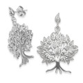 Sterling silver Tree of Life Earrings with Clear CZ. Size: 25 x 20mm.  7297CZ