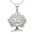 Sterling silver Tree of Life Pendant with Clear Cubic Zirconia - Size: 21 x 22mm (28mm inc. pendant top). Excluding chain.  8297CZ