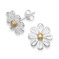 Sterling Silver Silver Flower stud earrings with Gold plate centre - Size: - 12mm x 13mm.  5977GP