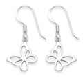 Sterling Silver Butterfly earrings Size: 13mm x 12mm (27mm including earring wires) 6056
