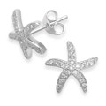 Sterling Silver swarovski crystal starfish earrings Size: 10mm