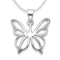 Sterling Silver Sterling Butterfly Pendant- Size: 20mm x 18mm (23mm including pendant top). Excluding chain 8054