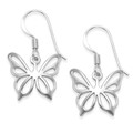 Sterling Silver Butterfly Earrings - SIZE: 15mm x 15mm (25mm inc. earring wires). 6054