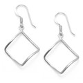 Sterling Silver Open square twist earrings - SIZE: 22mm x 22m (37mm inc. earring wires). 6184