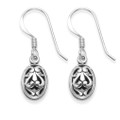 Sterling Silver filigree earrings. Double sided  Size:13 x 8mm. Good quality 2.3gms. 6361