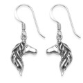 Sterling Silver horse head earrings. Size: 17mm x 10mm. Solid 2.3gms. 6122