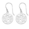 Sterling Silver circle with flowers drop Earrings - SIZE: 15mm 6083