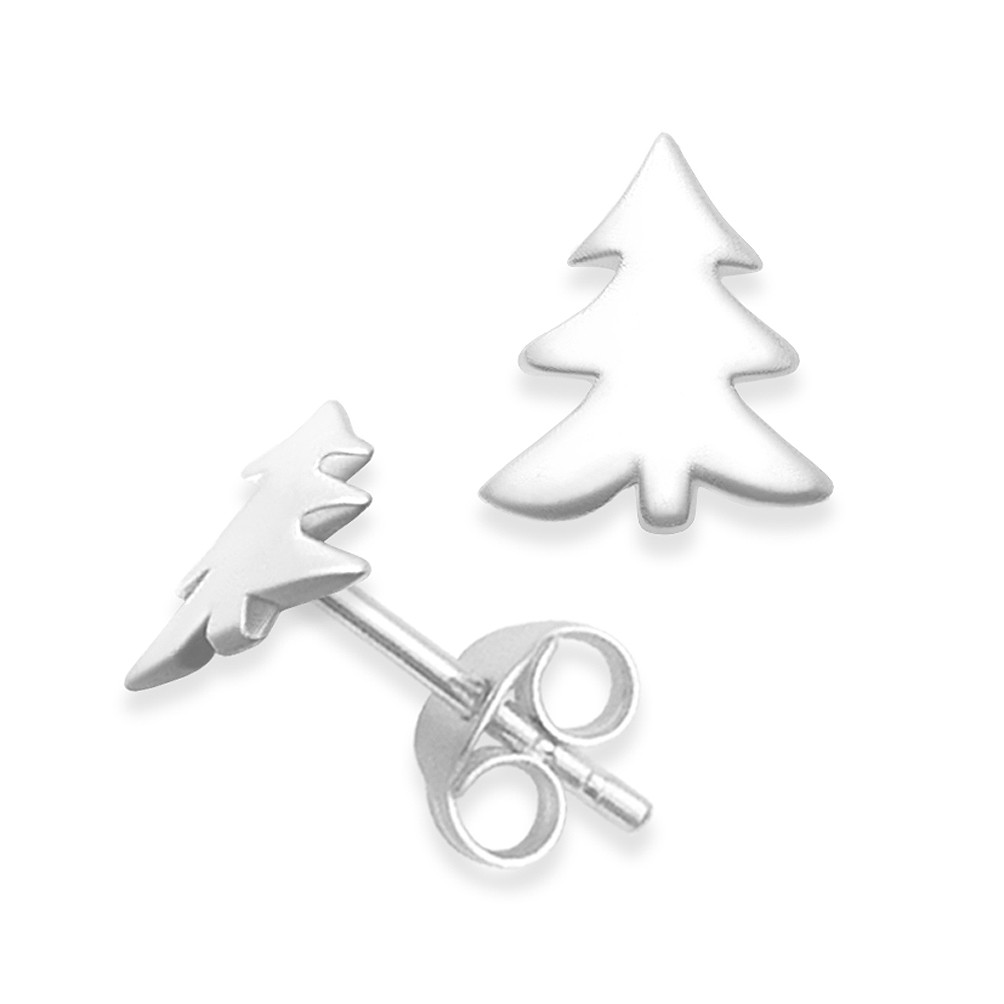 Small Silver Christmas Tree.Sterling Silver Christmas Tree Studs High Polished Size