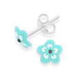 Sterling Silver Turquoise enamel Flower studs - Size: 6mm 5575TQ