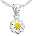 Sterling Silver Children's Yellow & white enamel Daisy Pendant - 10mm (17mm including pendant top). 4876. Chain not included