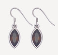 Sterling Silver Smokey Cubic Zirconia Earrings - Ovate Stone Size: 14mm x 7mm