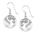 Silver Rennie Mackintosh flower Earrings - round rennie Mackintosh Earrings with leaves and flowers -SIZE: 15mm 6109