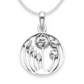 Silver Rennie Mackintosh flower Pendant - Round Rennie Mackintosh Pendant with flowers and leaves inside - SIZE: 15mm