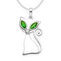 Sterling Silver Cat pendant with Emerald Cubic Zirconia eyes and clear CZ nose - SIZE: 25mm x 12mm. 8260EM