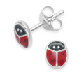 Sterling Silver Ladybird Earrings - Red Enamel Ladybird Stud Earrings 5582RED