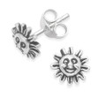 Sterling Silver Sun stud Earrings with face - size: 7mm 5250