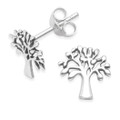 Sterling Silver Tree of life Yggdrasil stud earrings   -  Size: 9.8mm x 9.7mm. 5397