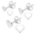 SET of 3 pairs Sterling Silver Heart Stud Earrings - size: 4mm, 5mm & 6mm x 0.8mm thick.  5170SET