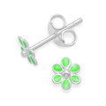 Sterling Silver Tiny Green enamel Flower studs - Size: 4.5mm 5576GRN