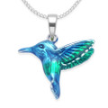 Sterling Silver Kingfisher Pendant - Solid - double sided beautifully enamelled in blue & green  - SIZE: 17mm x16mm - weight 2.3gms. Excluding chain 8350