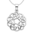 Sterling Silver Round Celtic Pendant with open middle - SIZE: 20mm (30mm icluding bail). Excluding chain 8046