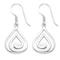 Sterling Silver Teardrop Swirl Earrings - SIZE: 13mm x 16mm 6198