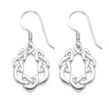 Sterling Silver Celtic Earrings with open middle - SIZE: 20mm x 14mm - Premium quality 3.5gms. 6393