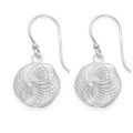 Sterling Silver Wool knot Earrings - SIZE:  13mm x 12mm. Premium quality dangly spiral earrings - weight 3gms.  6187