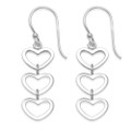 Sterling Silver Triple Hearts drop Earrings - SIZE: 10mm x 25mm (38mm with earring wires)
