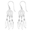 Sterling Silver Swirl Earrings with 3 dangly feathers 10mm x 32mm (46mm including wires) 6478