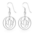 Sterling Silver 4 hoops Earrings - SIZE: 18mm x 18mm (35mm including rings & earring wires) 6330