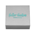 "Leatherette Branded Gift Box with magnet closure - Size: 75mm x 75mm x 22 (approx 3"" square). B64HN"