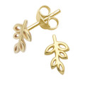 Gold Plated Sterling Silver Leaf Stud Earrings - SIZE: 8mm x 5mm.   5242GP