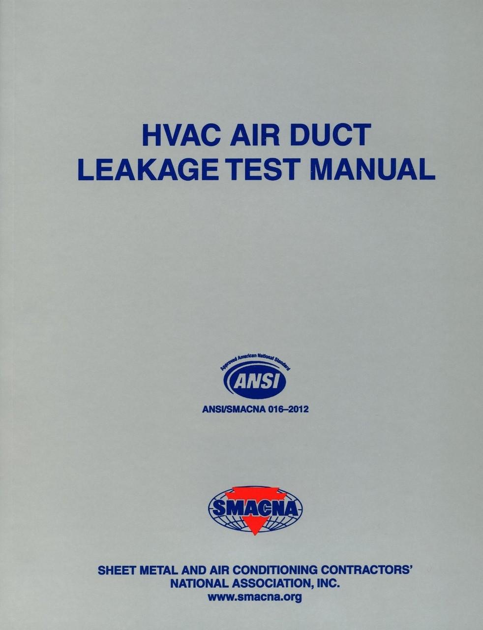 Hvac Air Duct Leakage Test Manual Smacna 1143