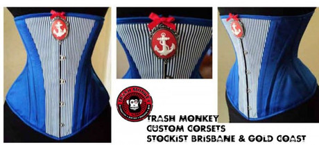 "Trash Monkey ** Dark Muse - ""Hello Sailor"" Underbust Corset"